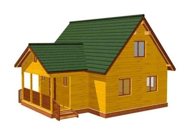 Дачный дом и бруса - 1 (6x9)